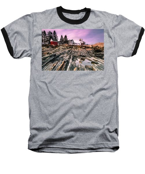 Baseball T-Shirt featuring the photograph Maine Pemaquid Lighthouse Reflection In Summer by Ranjay Mitra
