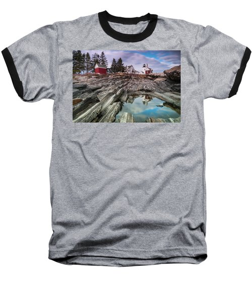 Maine Pemaquid Lighthouse Reflection Baseball T-Shirt