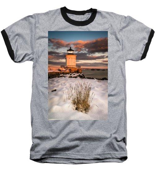 Maine Portland Bug Light Lighthouse Sunset  Baseball T-Shirt