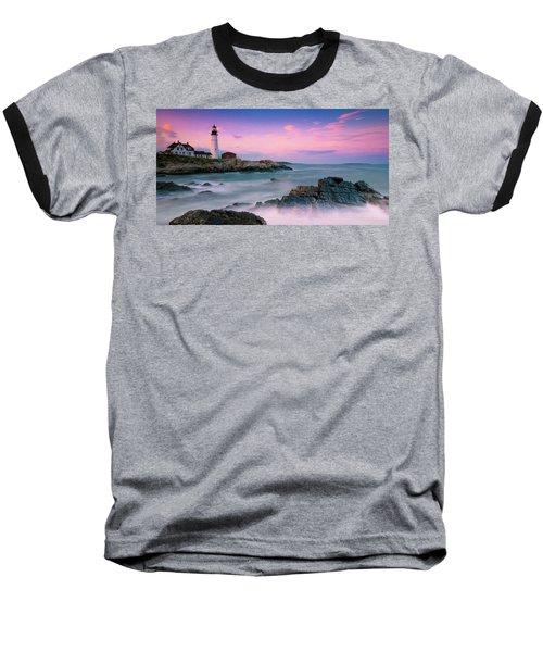 Maine Portland Headlight Lighthouse At Sunset Panorama Baseball T-Shirt by Ranjay Mitra