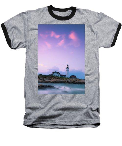 Maine Portland Headlight Lighthouse In Blue Hour Baseball T-Shirt
