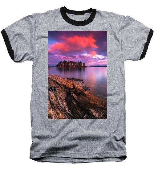 Maine Pound Of Tea Island Sunset At Freeport Baseball T-Shirt