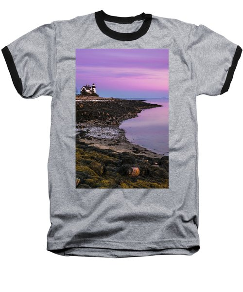 Baseball T-Shirt featuring the photograph Maine Prospect Harbor Lighthouse Sunset In Winter by Ranjay Mitra