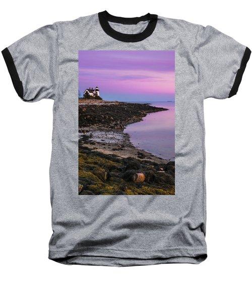 Maine Prospect Harbor Lighthouse Sunset In Winter Baseball T-Shirt