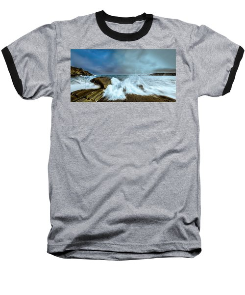 Maine Rocky Coast During Storm At Two Lights Baseball T-Shirt