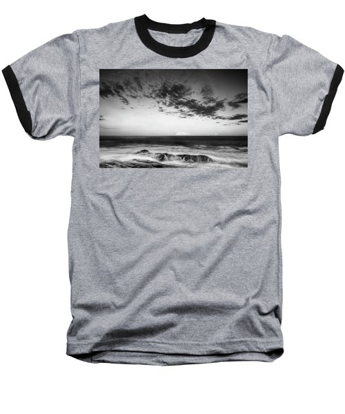 Maine Rocky Coast With Boulders And Clouds At Two Lights Park Baseball T-Shirt by Ranjay Mitra