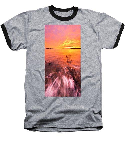 Maine Rocky Coastal Sunset At Kettle Cove Baseball T-Shirt by Ranjay Mitra