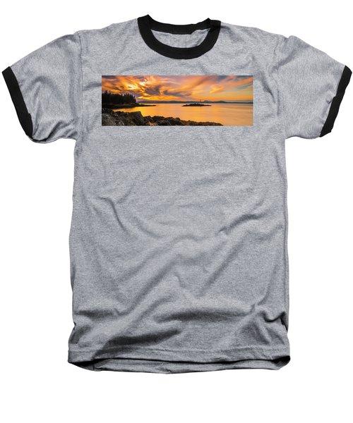 Maine Rocky Coastal Sunset In Penobscot Bay Panorama Baseball T-Shirt by Ranjay Mitra