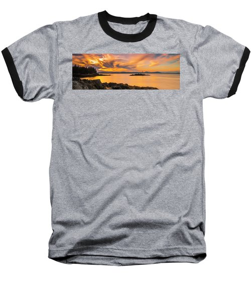 Maine Rocky Coastal Sunset In Penobscot Bay Panorama Baseball T-Shirt