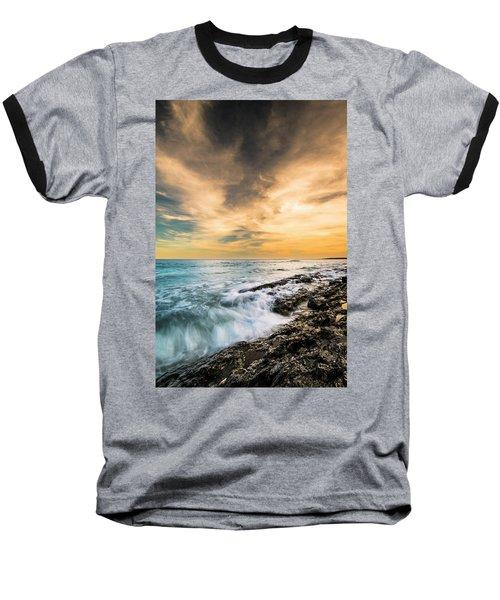 Baseball T-Shirt featuring the photograph Maine Rocky Coastal Sunset by Ranjay Mitra