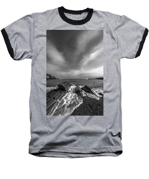 Maine Storm Clouds And Crashing Waves On Rocky Coast Baseball T-Shirt by Ranjay Mitra