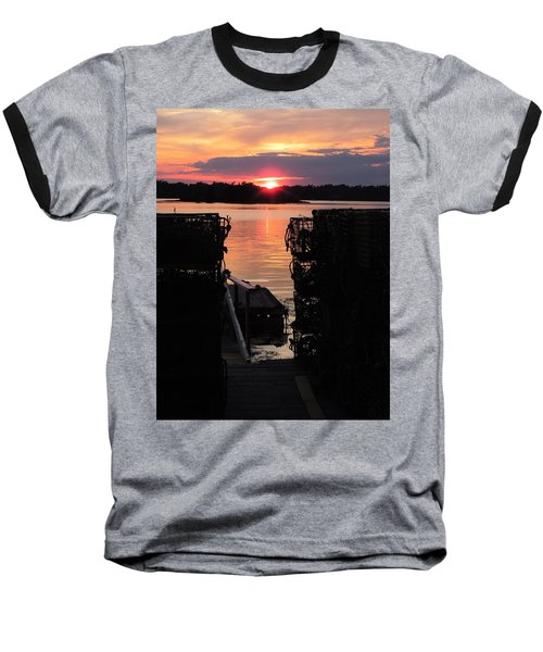 Maine Sunset And Traps Baseball T-Shirt