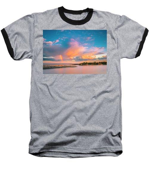Maine Sunset - Rainbow Over Lands End Coast Baseball T-Shirt