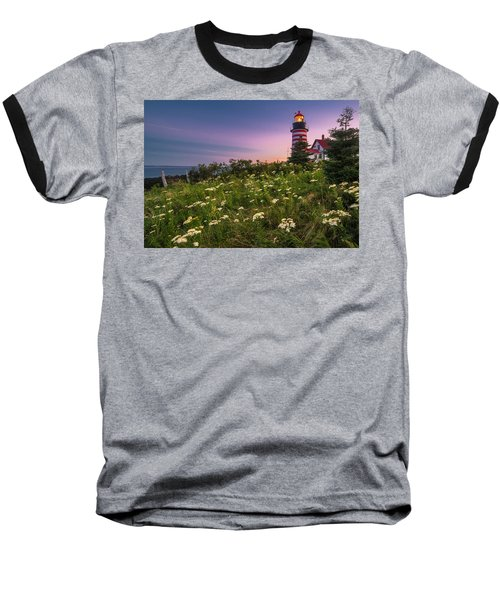 Maine West Quoddy Head Lighthouse Sunset Baseball T-Shirt