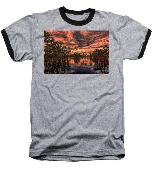Majestic Cypress Paradise Sunset Baseball T-Shirt