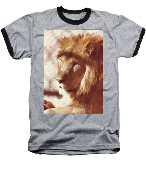 Baseball T-Shirt featuring the painting Majestic Lion by Margaret Harmon