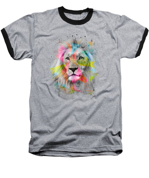 Majestic Male Lion Baseball T-Shirt by Carsten Reisinger