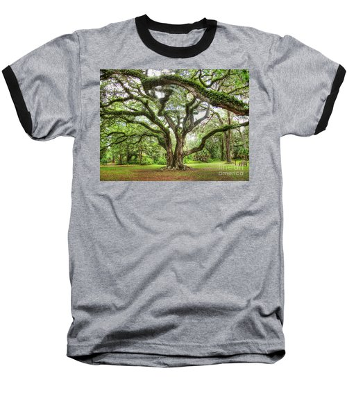 Majestic Oak Baseball T-Shirt by Myrna Bradshaw