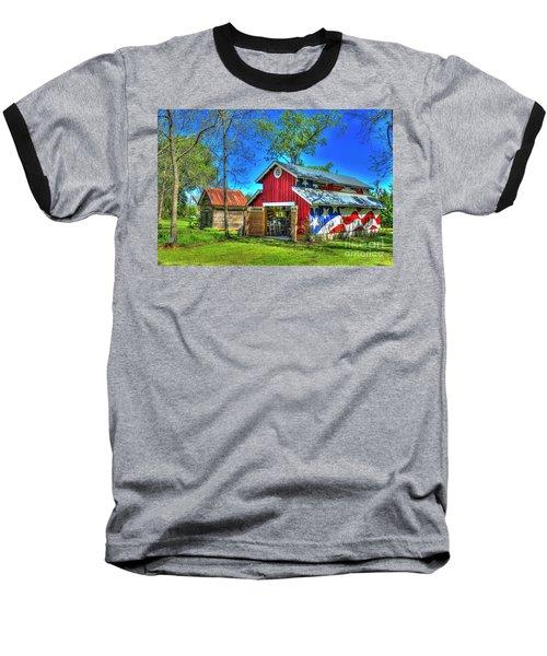 Baseball T-Shirt featuring the photograph Make America Great Again Barn American Flag Art by Reid Callaway