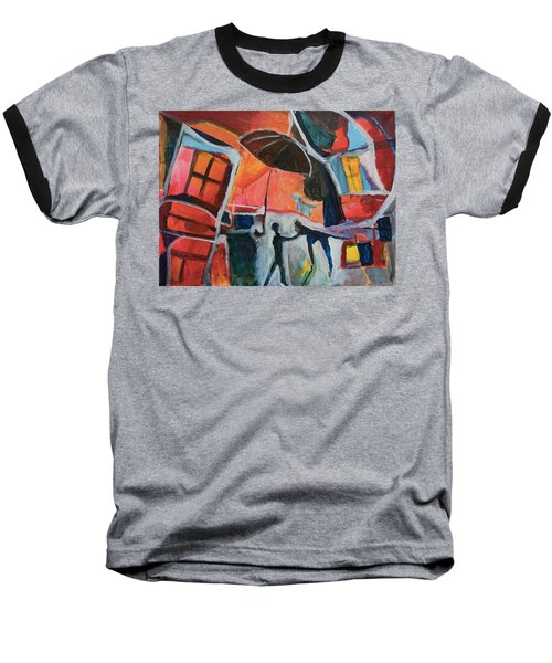 Baseball T-Shirt featuring the painting Making Friends Under The Umbrella by Susan Stone