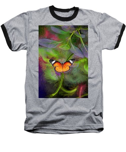 Baseball T-Shirt featuring the digital art Malay Lacewing  What A Great Place by James Steele
