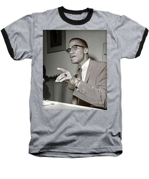 Baseball T-Shirt featuring the photograph Malcolm X  by Martin Konopacki Restoration