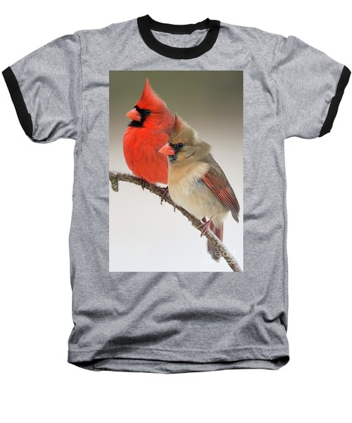 Male And Female Northern Cardinals On Pine Branch Baseball T-Shirt