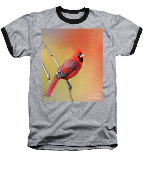 Baseball T-Shirt featuring the photograph Male Cardinal Perched by Myrna Bradshaw