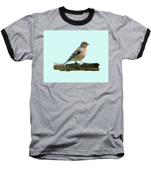 Baseball T-Shirt featuring the photograph Male Chaffinch, Blue Background by Paul Gulliver