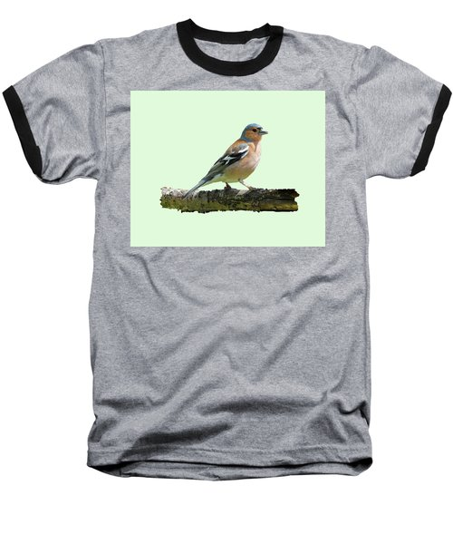 Baseball T-Shirt featuring the photograph Male Chaffinch, Green Background by Paul Gulliver