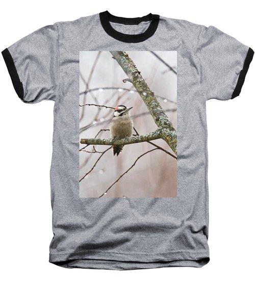 Male Downey Woodpecker Baseball T-Shirt by Michael Peychich
