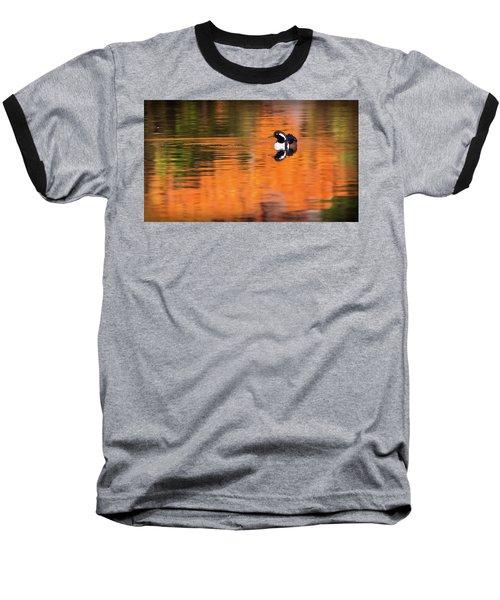 Male Hooded Merganser In Autumn Baseball T-Shirt