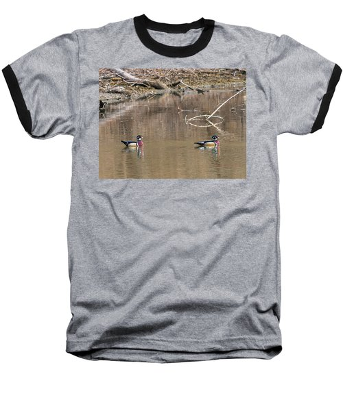 Baseball T-Shirt featuring the photograph Male Wood Ducks by Edward Peterson