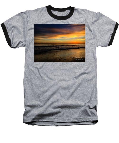Malibu Beach Sunset Baseball T-Shirt by Chris Tarpening