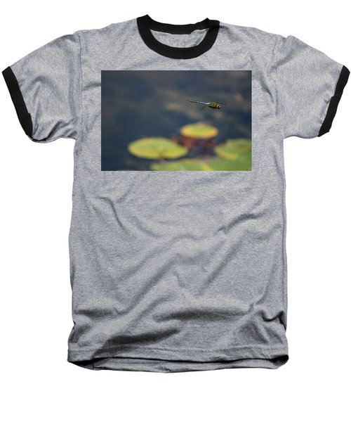 Malibu Blue Dragonfly Flying Over Lotus Pond Baseball T-Shirt