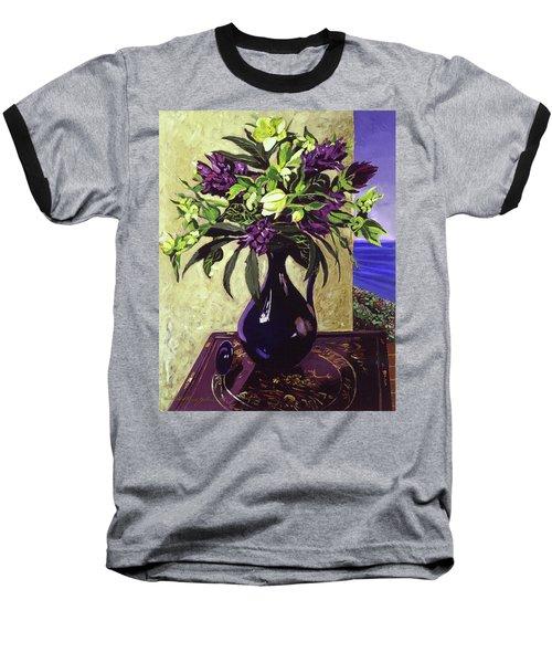 Malibu Hyacinths In Deep Blue Blue  Ceramic Baseball T-Shirt