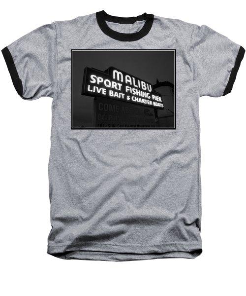 Malibu Pier Sign In Bw Baseball T-Shirt