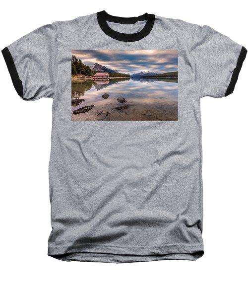 Maligne Lake Boat House Sunrise Baseball T-Shirt