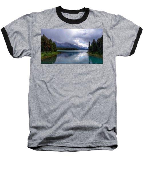 Maligne Lake Baseball T-Shirt by Heather Vopni