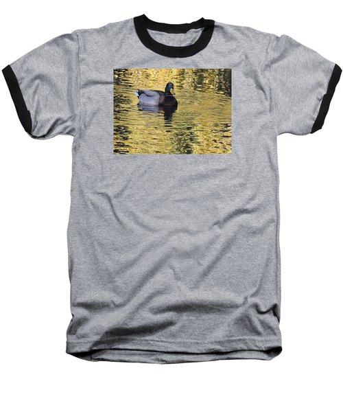 Mallard Drake On Gold Baseball T-Shirt