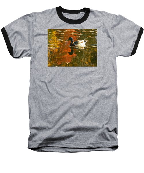 Mallard Duck In The Fall Baseball T-Shirt
