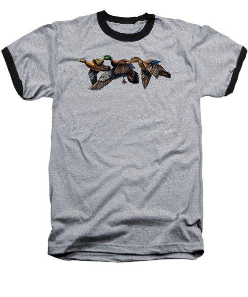 Mallard Ducks In Flight Baseball T-Shirt