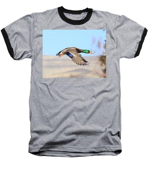 Mallard Flying Over Baseball T-Shirt