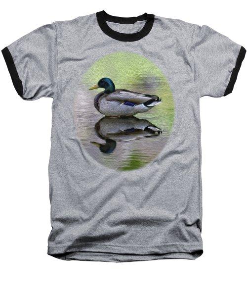 Mallard In Mountain Water Baseball T-Shirt