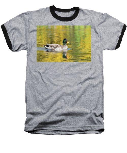 Mallard In Yellow Baseball T-Shirt