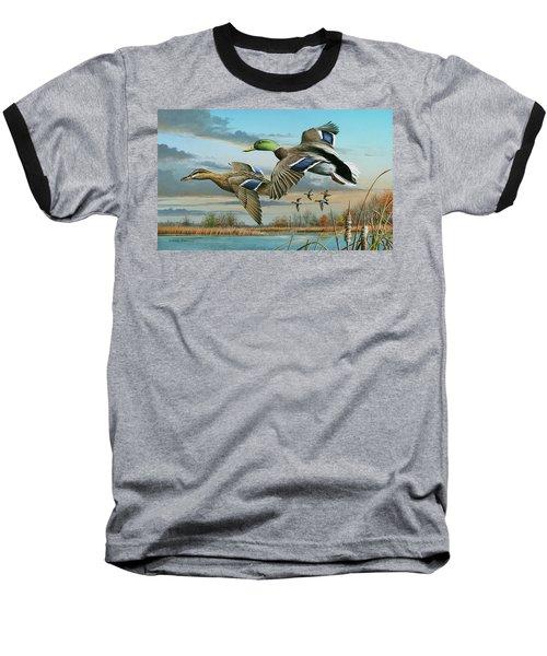 Mallards In Flight Baseball T-Shirt