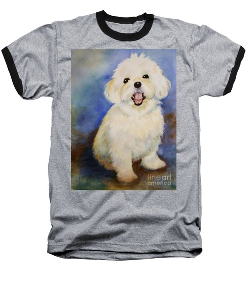 Baseball T-Shirt featuring the painting Maltese Named Ben by Marilyn Jacobson