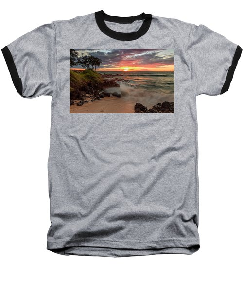 Maluaka Beach Sunset Baseball T-Shirt