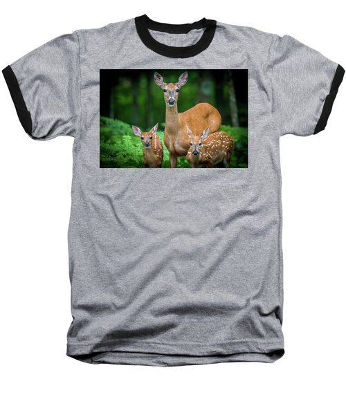 Mama And Fawns Baseball T-Shirt