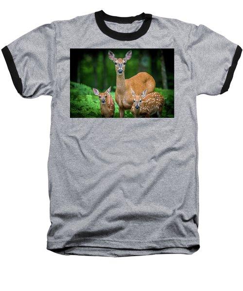 Mama And Fawns Baseball T-Shirt